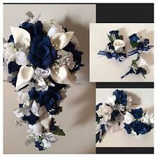 Bridal Bouquet Wedding Silk Flower 11 Piece Package Navy Blue White Calla Lily