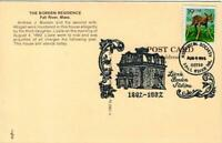 LIZZIE BORDEN Limited 1992 Postmark 100th anniv. POSTCARD-Aug.4th, 1892 Tragedy