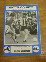 16/09/1975 Notts County v Bolton Wanderers  . Footy Progs (aka bobfrankandelvis)