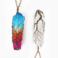 Clear Rainbow Crystal Tree Of Life Chakra Pendant Bronze Wire Wrap Necklace YB