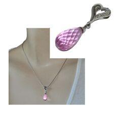 Pendentif en argent massif 925 coeur goutte de cristal rose facettée bijou