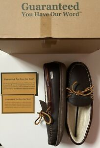 LL BEAN MEN LEATHER DOUBLE SOLE House Drive SLIPPERS SHEARLING LINED NEW Box 8