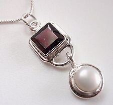 Cultured Pearl & Faceted Garnet Radiant Necklace 925 Sterling Silver Square New