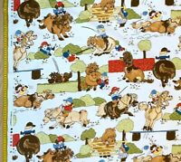 Thelwell Vintage Cotton print fabric Debbie And Dobbin White  118 X 118 Wardell