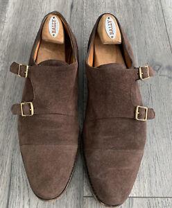 John Lobb William Saddle Suede Double Monkstrap Shoe Sz UK 9.5E US 10.5D