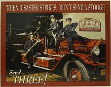 THREE STOOGES FIRE DEPARTMENT METAL SIGN Moe Larry Curly 3 Comedy TV NEW Engine