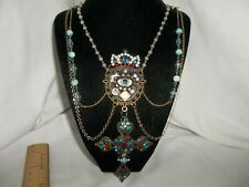 Vintage Victorian Lover's Antique Eye Rhinestone Heraldic Crown Necklace OOAK