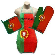 Portugal Flag Kitchen & BBQ Set w Apron Oven Mitt Pot Holder FREE S/H Portuguese