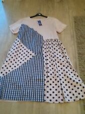 Italian l&n moda dress in soft pink/blue .ONE SIZE fits 14/16/18/20/22/24/26 fab