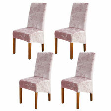 More details for 4pcs pink crushed velvet stretch dining chair cover slipcover home banquet decor