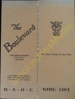 Vintage Menu The Boulevard Elmhurst Long Island 1943?