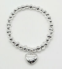 Heart Charm Silver Bracelet. Easy fit. No Clasp. One Size. 100% Nickel Free