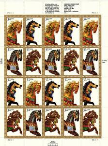USPS Carousel Horses 32 Cent Sheet of 20 MNH