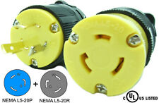 NEMA L5-20 Plug and Connector Set Industrial Grade Black/Yellow L5-20P L5-20R