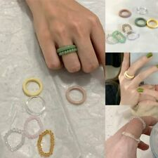 Colorful Resin Crystal Beaded Elastic Fashion Ring Women Party Jewelry Ring Gift