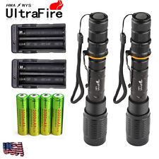 2 Sets 8000 Lumens 5Modes Ultrafire CREE XML T6 LED Flashlight 18650+Charger USA