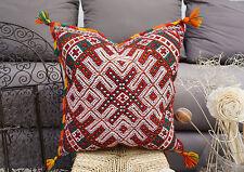 Moroccan Vintage Kilim Berber Pillow Cover Tassel Pom Pom Cushion