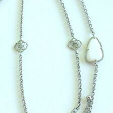 KENDRA SCOTT  RHODIUM WHITE PEARL LONG  STATION NECKLACE HTF