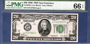 $20 1928 FRN SAN FRANCISCO PMG 66 EPQ 2050-L GEM 2050 LA NUMERICAL SEAL GEM UNC