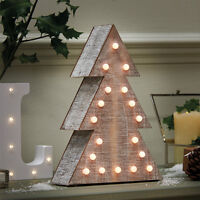 18 LED INDOOR BATTERY OPERATED WOODEN LIGHT UP 25CM CHRISTMAS TREE DECORATION