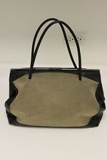 VINTAGE AUTH GUCCI WOMENS CANVAS AND BROWN LEATHER TOTE PURSE - SER #92727 3444