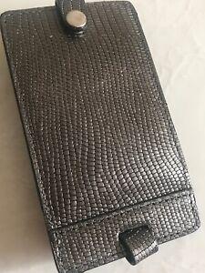 Neiman Marcus Faux Snake Metallic Bronze Luggage Tag New Gift Travel