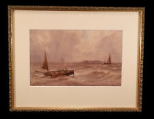 ANTIQUE ENGLISH NAUTICAL SEASCAPE WATERCOLOR PAINTING CHARLES SIM MOTTRAM LISTED