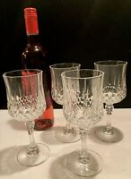 CRISTAL D'ARQUES Set of 4 Longchamp 24% Lead Crystal Wine Glasses France 6ozs