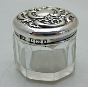 Antique 1900 Solid Silver & Glass Small Vanity Pot Levi & Solomon  (1917/D/VSY)