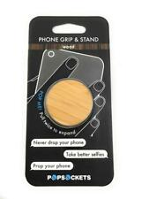 New PopSockets Phone Grip & Stand, Universal Holder, Bamboo Wood, Authentic