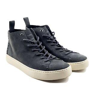 Toms Lenox Mid Shade Hemp Suede Mens Gray Sneakers High Tops Sz 8