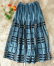 Soft Surroundings Long Skirt Sz S Womens Blue Gold Smocking Woven Formal Maxi