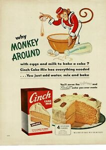 1950 CINCH Cake Mix why monkey around anthropomorphic monkey art Vintage Ad