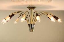 Alte Decken Lampe Messing + Tüllen schwarz & weiß 12flammige Leuchte 50er Jahre
