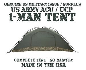 US ARMY ACU UCP MILITARY 1-MAN ICS IMPROVED COMBAT SHELTER TENT NO RAINFLY VGC