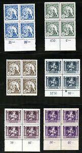 LOT 84476 MINT NH B124-B129 PLATE BLOCKS SEMI POSTAL STAMPS FROM CZECHOSLOVAKIA