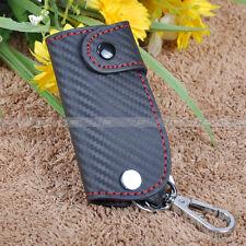 Universal Remote Smart Key Case Carbon Fiber Leather chain keyless Fob Holder