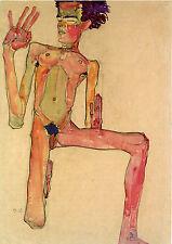 Egon Schiele Reproductions: Kneeling Male Nude, Self Portrait - Fine Art Print
