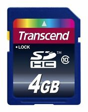TRANSCEND SD HC SDHC CLASS 10 4GB 4G 4 G GB FLASH MEMORY CARD NEW LIFE TIME WARR