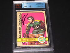 GILLES MELOCHE AUTOGRAPHED 1972-73 TOPPS ROOKIE CARD-JSA/BGS SLAB