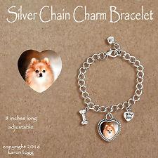 Pomeranian Dog Red Pom - Charm Bracelet Silver Chain & Heart
