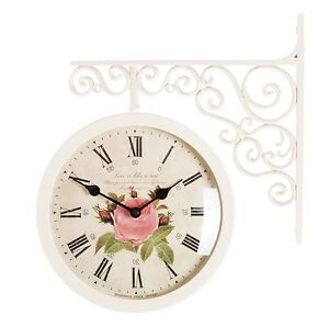 Antique Art Design Double Sided Wall Clock Station Clock Home Decor - Flower1IV