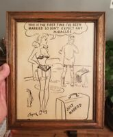 Vintage Pinup Risque Joke Comic Strip Framed Poster - Just Married Cooper Artist