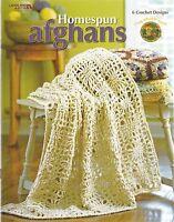 Homespun Afghans Crochet Patterns 6 Designs Lacy Patchwork Hexagon Stripe + NEW