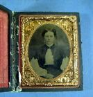 Small Antique Photograph In Leather Case With Gold Colored Frame Marked 1867