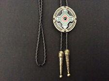New Antique Bronze Keltic Celtic Cross Bolo Tie