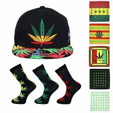 Cannabis King Ice Baseball Cap Bandana & Sock Combo (Jam Leaf / Black - B003)