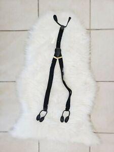 🌺Adjustable Black Button Holes Men's Elastic Suspenders Cowhide Leather Gold HW