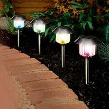 4 x Solar Powered Stainless Steel LED Garden Colour Lights - Free P&P to EU & UK