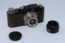 Leica II Black Paint 35mm rangefinder camera and 50mm f/3.5 Elmar lens. Vintage.